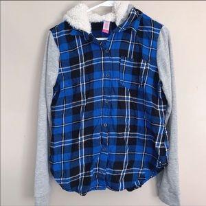 No Boundaries | Blue plaid raglan sleeve top Jr. M